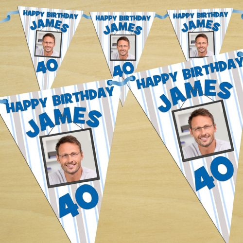 Personalised Blue Stars Happy Birthday Flag PHOTO Bunting Banner - N42